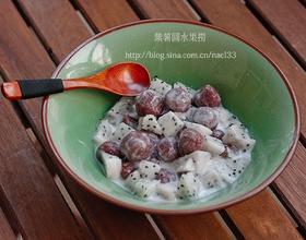 紫薯圆水果捞